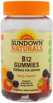 Productos Sensibles Al Calor, Vitaminas Sundown Naturals, B12, 500 mcg, Raspberry, Mixed Berry & Orange, 50 Gummies