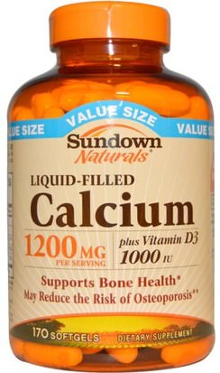 Suplementos, Minerales, Calcio Vitamina D Sundown Naturals, Liquid-Filled Calcium, Plus Vitamin D3, 1200 mg/1000 IU, 170 Softgels