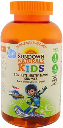 Productos Sensibles Al Calor, Vitaminas, Gominolas Multivitamínicas Sundown Naturals Kids, Kids, Complete Multivitamin Gummies, Miles from Tomorrowland, Grape, Orange & Cherry, 180 Gummies
