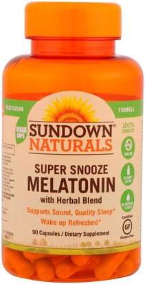 Suplementos, Melatonina Sundown Naturals, Super Snooze Melatonin, 90 Capsules