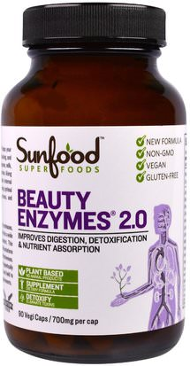 Suplementos, Superalimentos, Antienvejecimiento Sunfood, Beauty Enzymes 2.0, 700 mg, 90 Veggie Caps