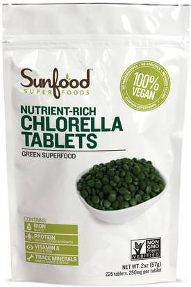 Suplementos, Superalimentos, Chlorella Sunfood, Broken Cell Wall Chlorella Tablets, 250mg, 228 Tablets, 2 oz (57 g)