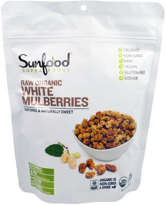 Comida, Fruta Seca, Mora Sunfood, Raw Organic White Mulberries, 8 oz (227 g)