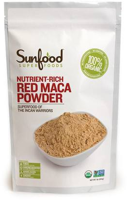Suplementos, Adaptógeno, Hombres, Maca Sunfood, Red Maca Powder, Nutrient-Rich, 1 lb (454 g)
