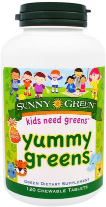 Suplementos, Superalimentos, Verdes Sunny Green, Yummy Greens, Fruit Punch, 120 Chewable Tablets