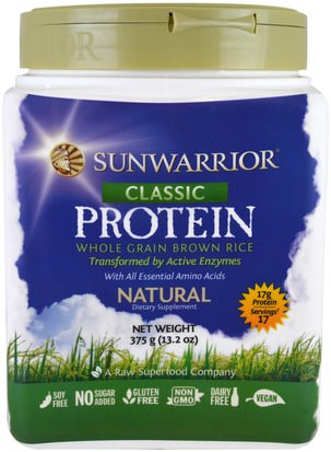 Deportes, Entrenamiento, Proteína Sunwarrior, Classic Protein, Whole Grain Brown Rice, Natural, 13.2 oz (375 g)