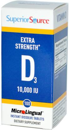 Vitaminas, Vitamina D3 Superior Source, Extra Strength Vitamin D3, 10,000 IU, 100 MicroLingual Instant Dissolve Tablets