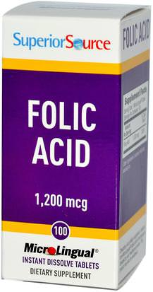 Vitaminas, Ácido Fólico Superior Source, Folic Acid, 1,200 mcg, 100 MicroLingual Instant Dissolve Tablets