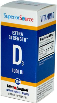 Vitaminas, Vitamina D3 Superior Source, Extra Strength Vitamin D3, 1000 IU, 100 MicroLingual Instant Dissolve Tablets