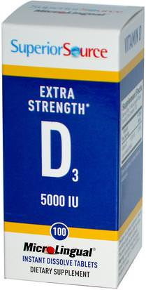 Vitaminas, Vitamina D3 Superior Source, Extra Strength Vitamin D3, 5000 IU, 100 MicroLingual Instant Dissolve Tablets