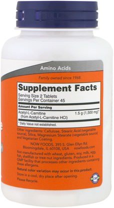 Now Foods, Acetyl-L Carnitine, 750 mg, 90 Tablets Suplementos, Aminoácidos, L Carnitina, Acetilo Carnitina