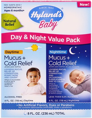 Hylands, Mucus + Cold Relief, Day & Night Value Pack, Ages 6 Months+, 4 fl oz (118 ml) Each Suplementos, Homeopatía, Salud De Los Niños