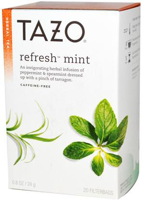 Comida, Té De Hierbas Tazo Teas, Herbal Tea, Refresh Mint, Caffeine-Free, 20 Filterbags, 0.8oz (24 g)
