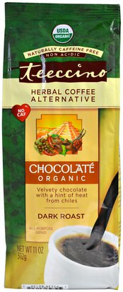 Comida, Café, Alternativa De Café Herbal Teeccino, Organic Herbal Coffee Alternative, Dark Roast, Caffeine Free, Chocolate, 11 oz (312 g)