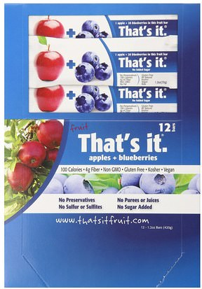 Comida, Snacks, Suplementos Thats It, Fruit Bars, Apples + Blueberries, 12 Bars, 1.2 oz (420 g) Each