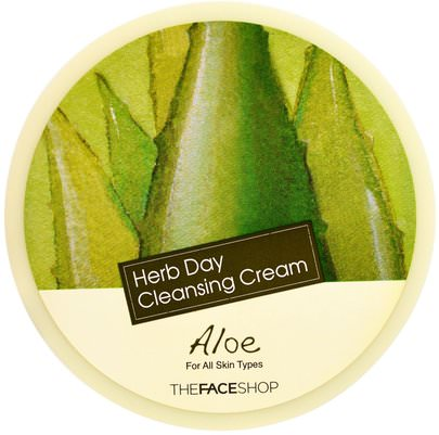 Baño, Belleza, Cuidado Facial, Limpiadores Faciales The Face Shop, Herb Day Cleansing Cream, Aloe, 5 oz (150 ml)