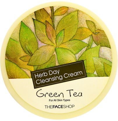 Baño, Belleza, Cuidado Facial, Limpiadores Faciales The Face Shop, Herb Day Cleansing Cream, Green Tea, 5 oz (150 ml)