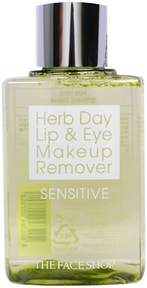 Baño, Belleza, Removedor De Maquillaje The Face Shop, Herb Day Lip & Eye Makeup Remover, Sensitive, 4.39 fl oz (130 ml)