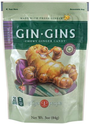 Comida, Bocadillos, Raíz De Jengibre The Ginger People, GinGins, Chewy Ginger Candy, Original, 3 oz (84 g)