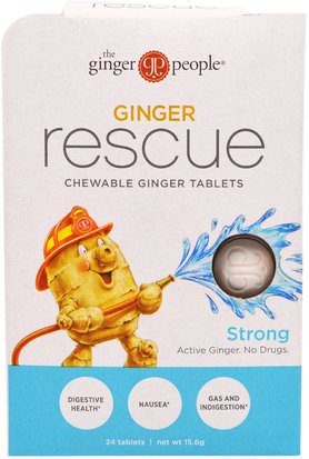Hierbas, Raíz De Jengibre, Digestión, Estómago The Ginger People, Ginger Rescue, Chewable Ginger Tablets, Strong, 24 Tablets (15.6 g)