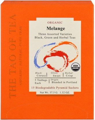 Suplementos, Antioxidantes, Té Verde, Comida, Té De Hierbas The Tao of Tea, Organic Melange, Three Assorted Varieties, 15 Pyramid Sachets, 1.32 oz (37.5 g)