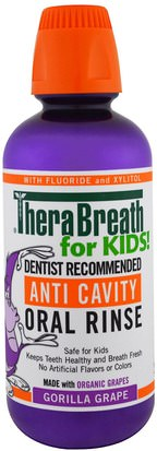 Baño, Belleza, Cuidado Dental Bucal, Enjuague Bucal TheraBreath, Anti Cavity Oral Rinse for Kids, Gorilla Grape, 16 fl oz (473 ml)