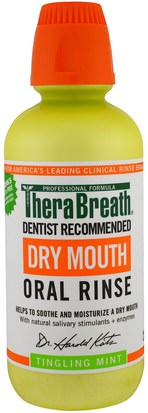 Baño, Belleza, Cuidado Dental Bucal, Productos De Higiene Bucal, Salud, Boca Seca TheraBreath, Dry Mouth Oral Rinse, Tingling Mint, 16 fl oz (473 ml)