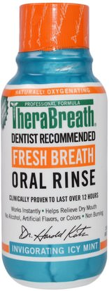 Baño, Belleza, Cuidado Dental Bucal, Productos De Higiene Bucal, Salud, Boca Seca TheraBreath, Fresh Breath Oral Rinse, Invigorating Icy Mint Flavor, 3 fl oz (88.7 ml)