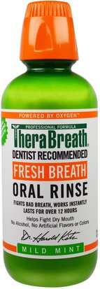 Baño, Belleza, Cuidado Dental Bucal, Enjuague Bucal TheraBreath, Fresh Breath, Oral Rinse, Mild Mint, 16 fl oz (473 ml)