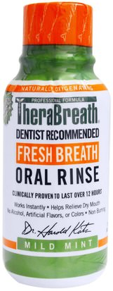 Baño, Belleza, Cuidado Dental Bucal, Productos De Higiene Bucal, Salud, Boca Seca TheraBreath, Fresh Breath Oral Rinse, Mild Mint Flavor, 3 fl oz (88.7 ml)