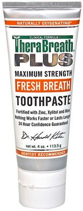 Baño, Belleza, Cuidado Dental Oral, Xilitol Cuidado Bucal, Pasta De Dientes TheraBreath, Fresh Breath Toothpaste, 4 oz (113.5 g)