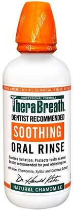 Baño, Belleza, Cuidado Bucal Oral, Xylitol Cuidado Bucal, Enjuague Bucal TheraBreath, Soothing Oral Rinse, Natural Chamomile, 16 fl oz (473 ml)