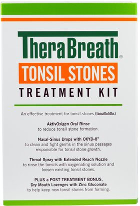 Baño, Belleza, Cuidado Dental Oral, Productos De Higiene Bucal, Salud, Gripe Fría Y Viral, Aerosol Para El Cuidado De La Garganta TheraBreath, Tonsil Stones Treatment Kit, 5 Piece Kit