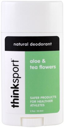 Baño, Belleza, Desodorante Think, Thinksport, Natural Deodorant, Aloe & Tea Flowers, 2.9 oz (85.8 ml)