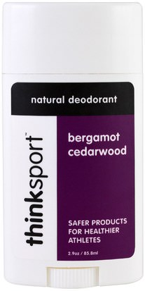 Baño, Belleza, Desodorante Think, Thinksport, Natural Deodorant, Bergamot Cedarwood, 2.9 oz (85.8 ml)