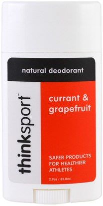 Baño, Belleza, Desodorante Think, Thinksport, Natural Deodorant, Currant & Grapefruit, 2.9 oz (85.8 ml)