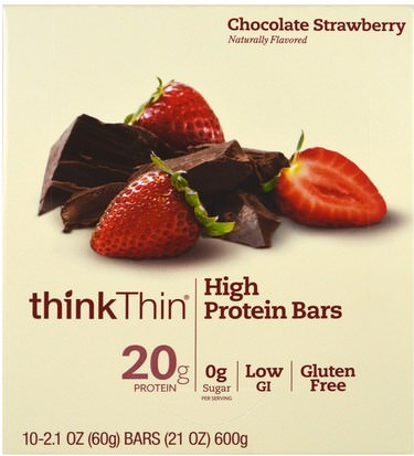 Deportes, Barras De Proteína ThinkThin, High Protein Bars, Chocolate Strawberry, 10 Bars, 2.1 oz (60 g) Each