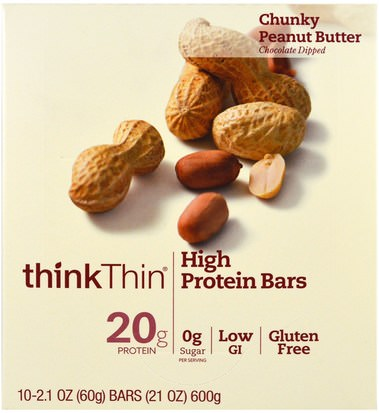Comida, Refrigerios, Refrigerios Saludables ThinkThin, High Protein Bars, Chunky Peanut Butter, 10 Bars, 21 oz (60 g) Each