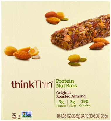 Comida, Refrigerios, Refrigerios Saludables ThinkThin, Protein Nut Bars, Original Roasted Almond, 10 Bars, 13.6 oz (385 g) Each