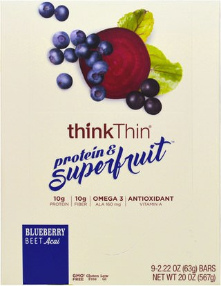 Comida, Bocadillos, Refrigerios Saludables, Bares ThinkThin, Protein & Superfruit, Blueberry Beet Acai, 9 Bars, 2.22 oz (63 g) Each