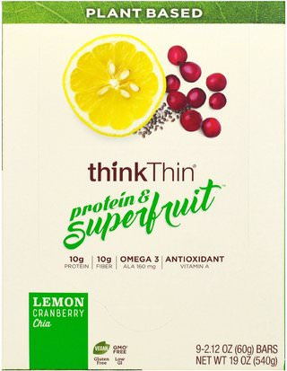 Comida, Bocadillos, Refrigerios Saludables, Bares ThinkThin, Protein & Superfruit, Lemon Cranberry Chia, 9 Bars, 2.12 oz (60 g) Each