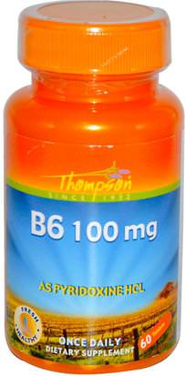 Vitaminas, Vitamina B, Vitamina B6 - Piridoxina Thompson, B6, 100 mg, 60 Tablets