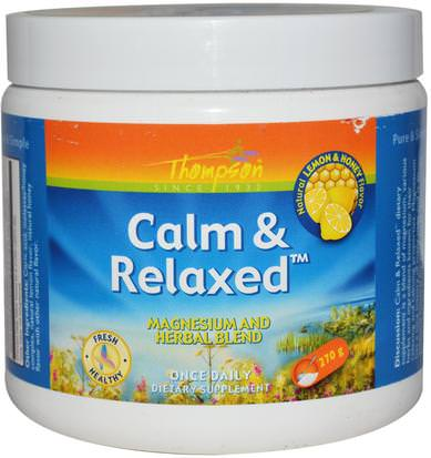 Suplementos, Minerales, Magnesio, Salud, Estado De Ánimo Thompson, Calm & Relaxed, Natural Lemon & Honey Flavor, 270 g