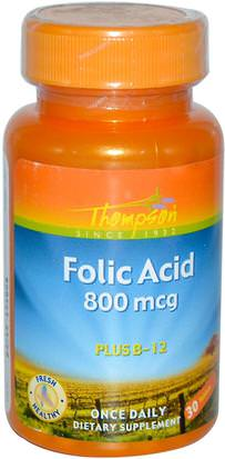 Vitaminas, Ácido Fólico Thompson, Folic Acid, Plus B-12, 800 mcg, 30 Tablets