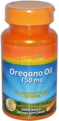 Suplementos, Aceite De Orégano, Salud Thompson, Oregano Oil, 150 mg, 60 Softgels