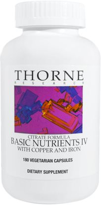 Vitaminas, Multivitaminas Thorne Research, Basic Nutrients IV with Copper and Iron, 180 Vegetarian Capsules