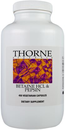 Suplementos, Betaína Hcl Thorne Research, Betaine HCL & Pepsin, 450 Vegetarian Capsules