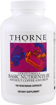 Vitaminas, Multivitaminas, Minerales, Minerales Múltiples Thorne Research, Citrate Formula, Basic Nutrients III, Without Copper and Iron, 180 Vegetarian Capsules