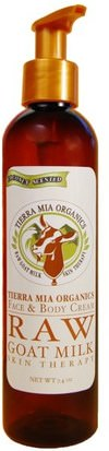 Baño, Belleza, Loción Corporal Tierra Mia Organics, Face & Body Cream, Raw Goat Milk Skin Therapy, Coconut Scented, 7.4 oz