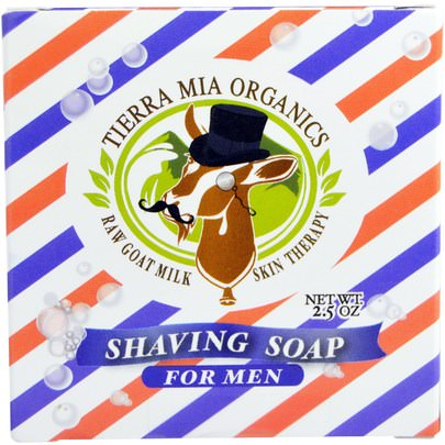 Baño, Belleza, Afeitado, Jabón Tierra Mia Organics, Raw Goat Milk Skin Therapy, Shaving Soap For Men, 2.5 oz
